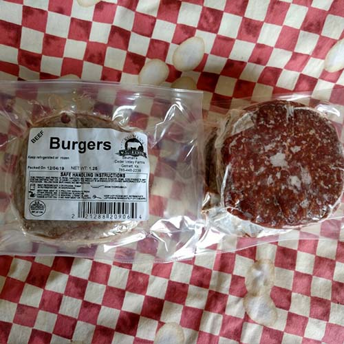 Bauman's Authentic grassfed and finished Beef Burgers