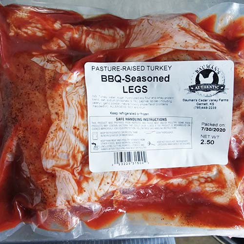 Bauman's pasture-raised BBQ-seasoned Turkey Legs