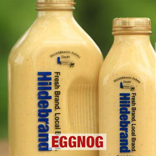 Hildebrand Dairy Farms Eggnogin both quart and half gallon bottles