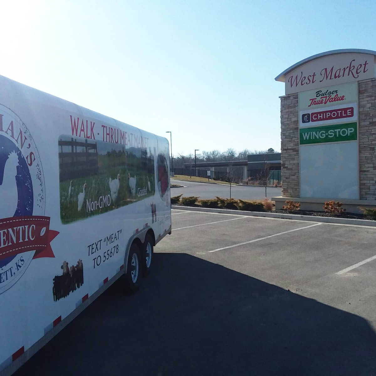 Bauman's Mobile Meat Market is in Olathe, Kansas every other Saturday from 1:30-2:30 PM near Hwy 7 and Santa Fe.