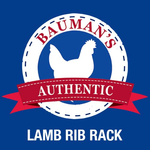 Bauman's Authentic 100% grassfed, pasture raised lamb rib rack.